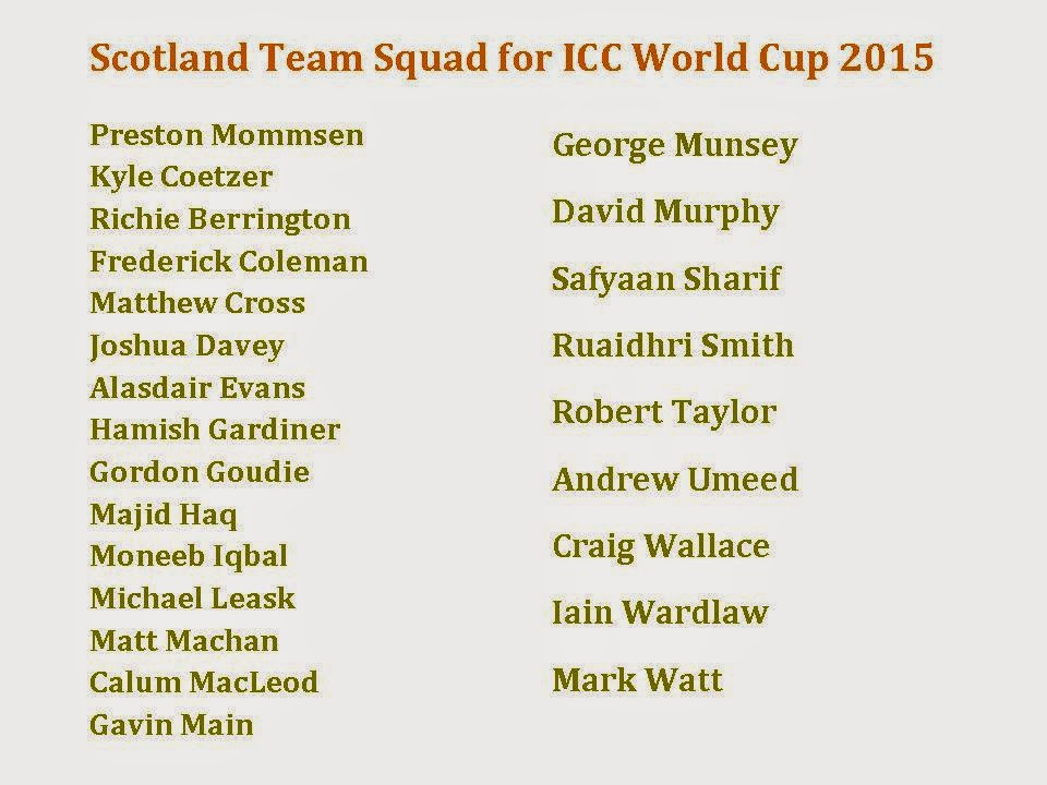 Scotland Team Squad for ICC World Cup 2015 image, photo, picture
