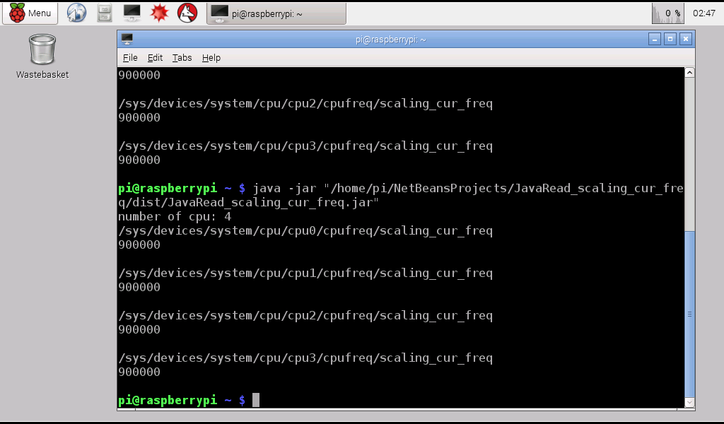 Hello Raspberry Pi Java Get Cpu Frequency By Quot Cat Sys