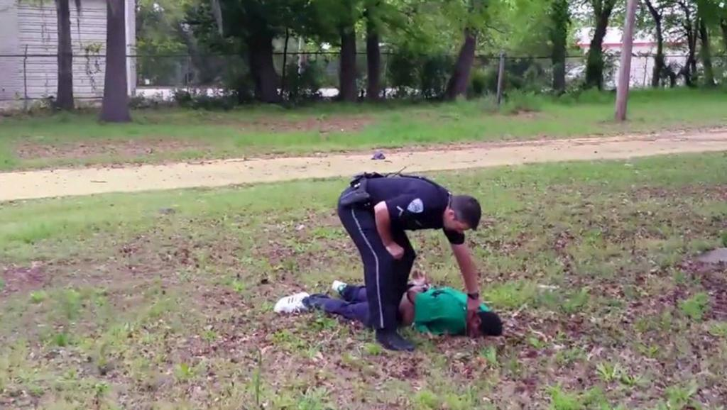 The American Policeman Michael Slager, after having killed  a black man (Walter Scott)