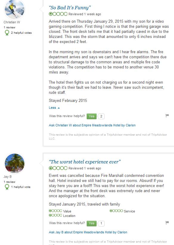 Clarion Hotel Empire Meadowlands Hotel Apex 2015 venue convention reviews fire code violations