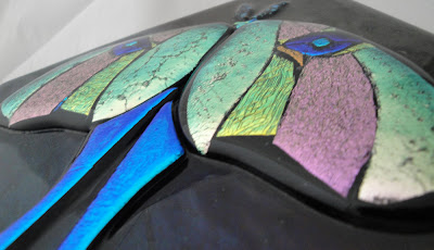 Fused Glass Dichroic Luna Moth Color Shift flutterbybutterfly