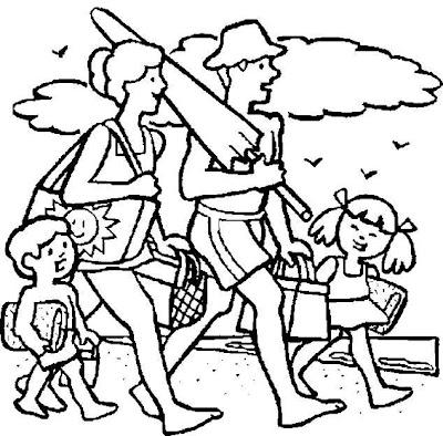 Dibujo de vacaciones en familia para colorear ~ 4 Dibujo