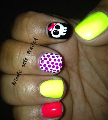 Neon Skull Polka Dots Nail Art