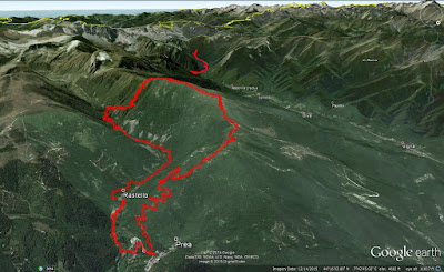 Trail route from Rastello to Cima Pigna (other red line is previous day hike in Valle Pesio).