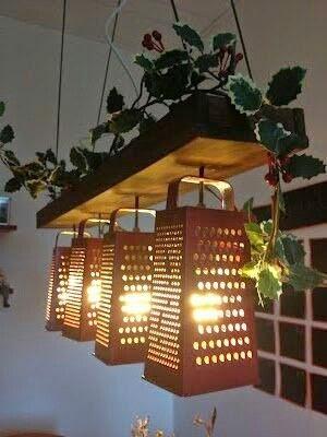 lampara de techo diy con rallador de comida