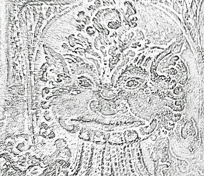 face on pillar sketch