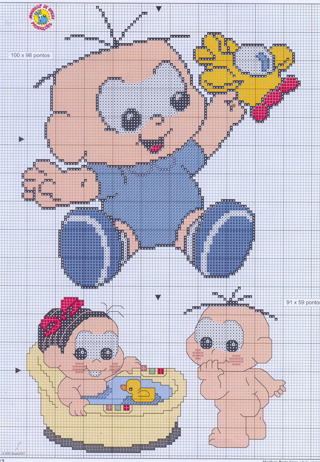Gráficos da Turma da Mônica Baby em ponto cruz.