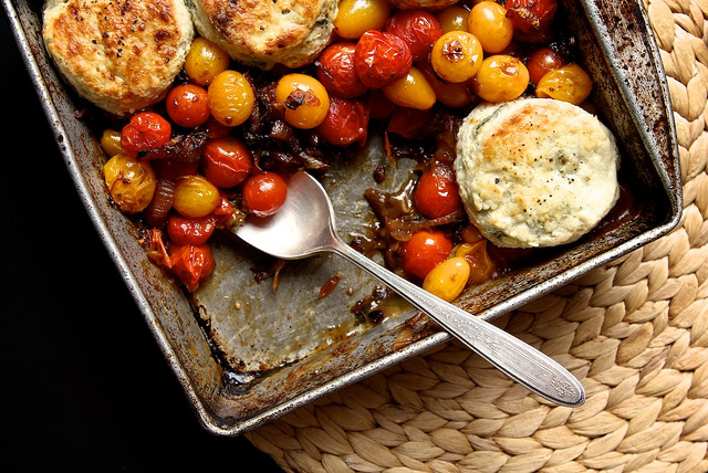Tomato cobbler with blue cheese biscuits - Joy the Baker )