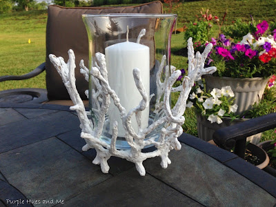 diy faux coral glass candle holder