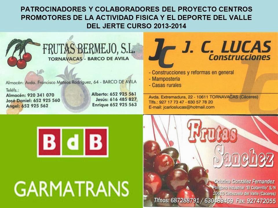 Patrocinadores y colaboradors del Proyecto Centros PAFD del Valle del Jerte