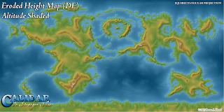 World of Calidar Eroded Height Map Draft, Altitude Shading, Equirectangular Projection