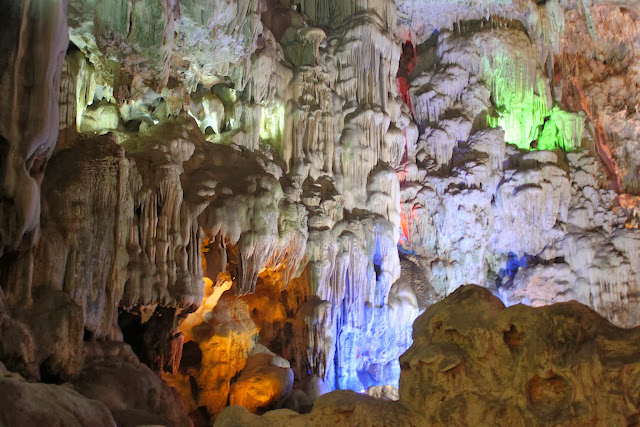 A close up of limestone at Thien Cung Grotto at Halong Bay in Hanoi, Vietnam