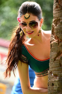Simran Kaur Mundi in Yet another Green Choli Saree Spicy Stunning Beauty