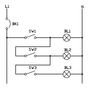 Control secuencial de lamparas con interruptores simples