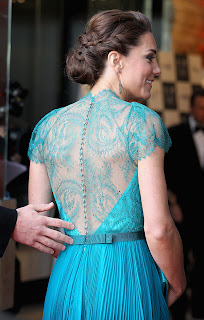 Back of Kate Middleton Green, Teal Dress by Jenny Packham