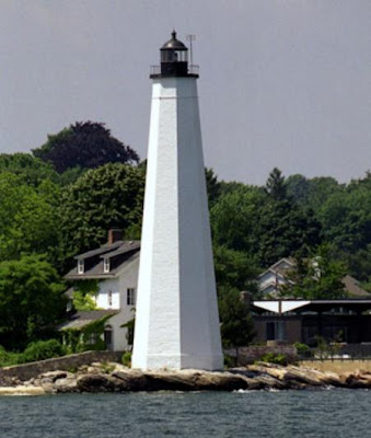The New London Harbor Lighthouse located not far from The Lighthouse Inn which is haunted by several ghosts