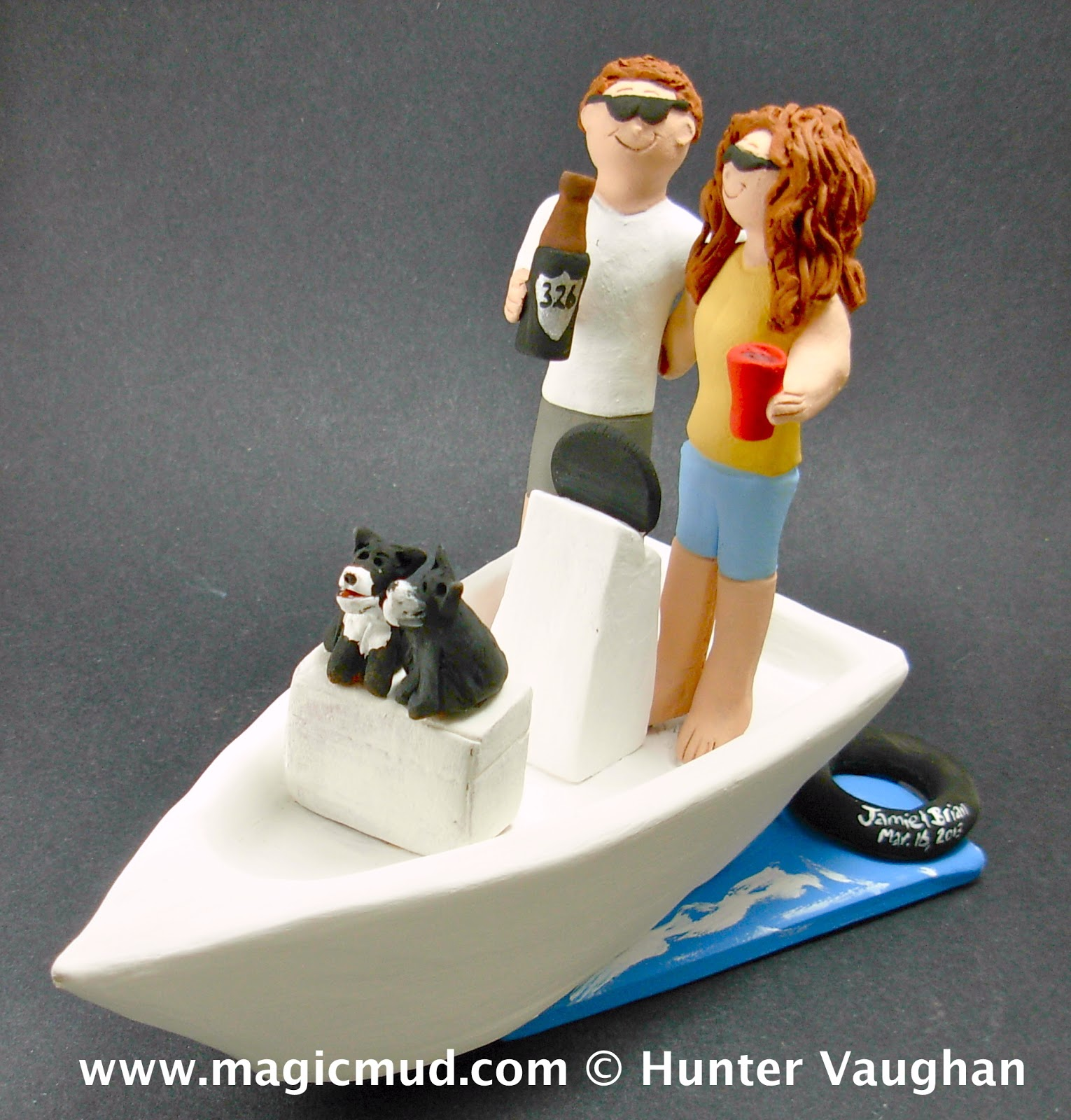 custom wedding cake toppers Bride and Groom on Boat