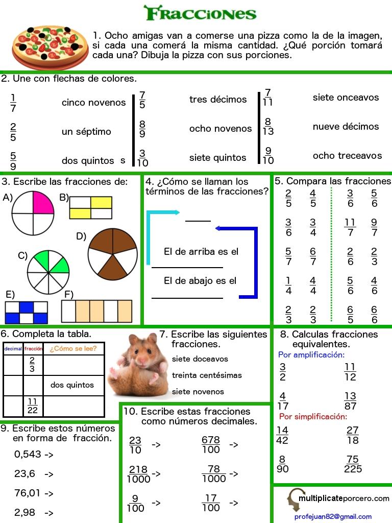 ejercicios de fracciones cuarto de primaria - 28 images - refuerzo ...