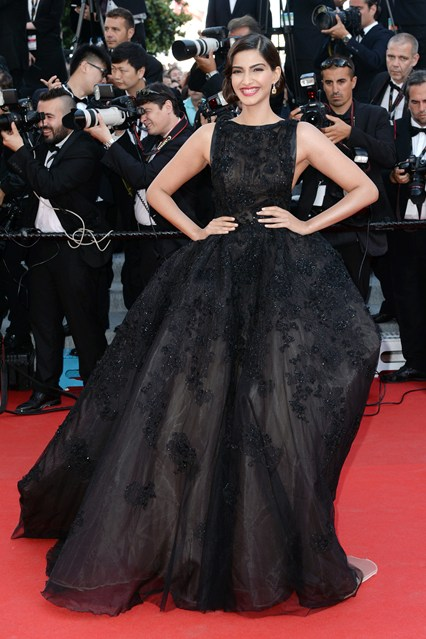 Sonam Kapoor in an Elie Saab Couture gown and Chopard jewellery at Cannes 2014