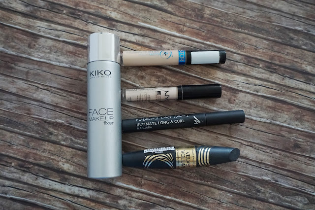 Kiko - Face Make up Fixer, Astor - Perfect Stay Concealer, NYX - HD Concealer in CW01 Porcelain, Manhattan - Ultimate Long & Curl Mascara, Max Factor - Velvet Volume False Lash Effect Mascara