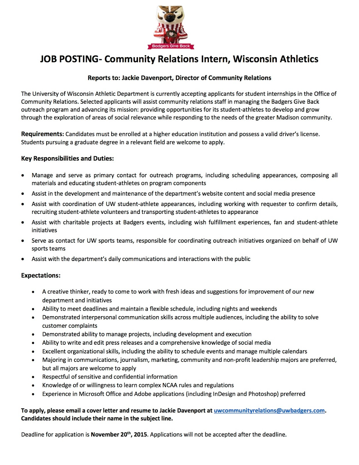 Internship With UW Athletics Community Relations