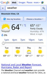 Google Weather Search page on mobile phone adds slider