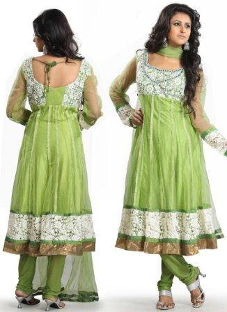 Green-Net-Long-Anarkali-Suit