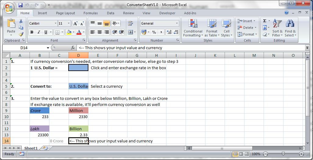 Converter Sheet In Non Currency Mode