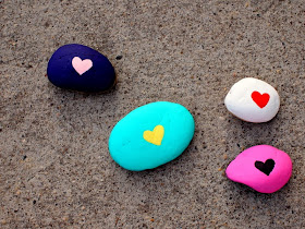 finished painted heart rocks