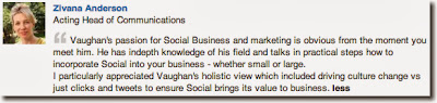 Vaughan's passion for Social Business and marketing is obvious from the moment you meet him. He has indepth knowledge of his field and talks in practical steps how to incorporate Social into your business - whether small or large.  I particularly appreciated Vaughan's holistic view which included driving culture change vs just clicks and tweets to ensure Social brings its value to business.