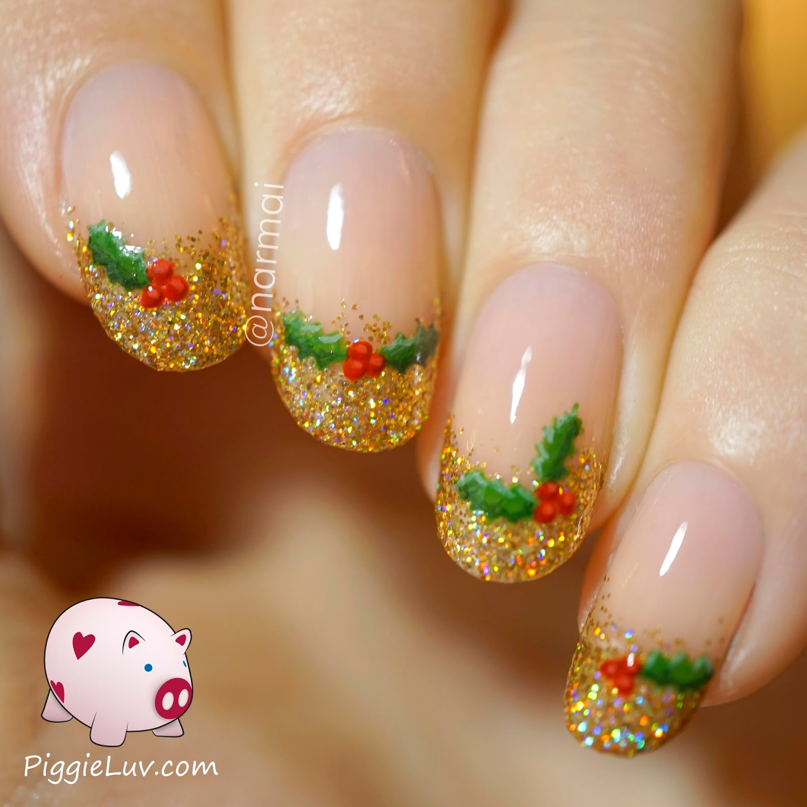 PiggieLuv: Christmas holly nail art