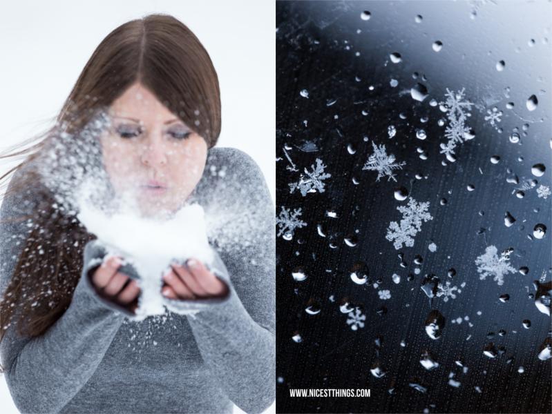 Wintershooting Frau im Schnee pusten Eiskristalle