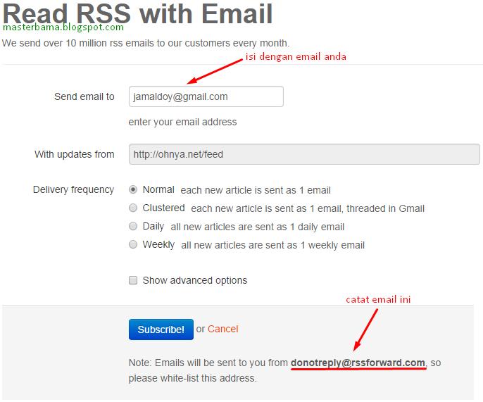 Berlangganan RSS Feed melalui Email
