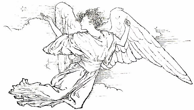 Black and white clip art of angels