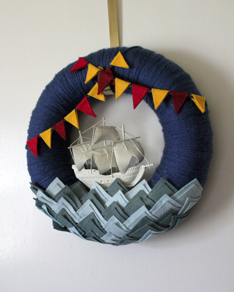 Pirate nautical yarn wreath