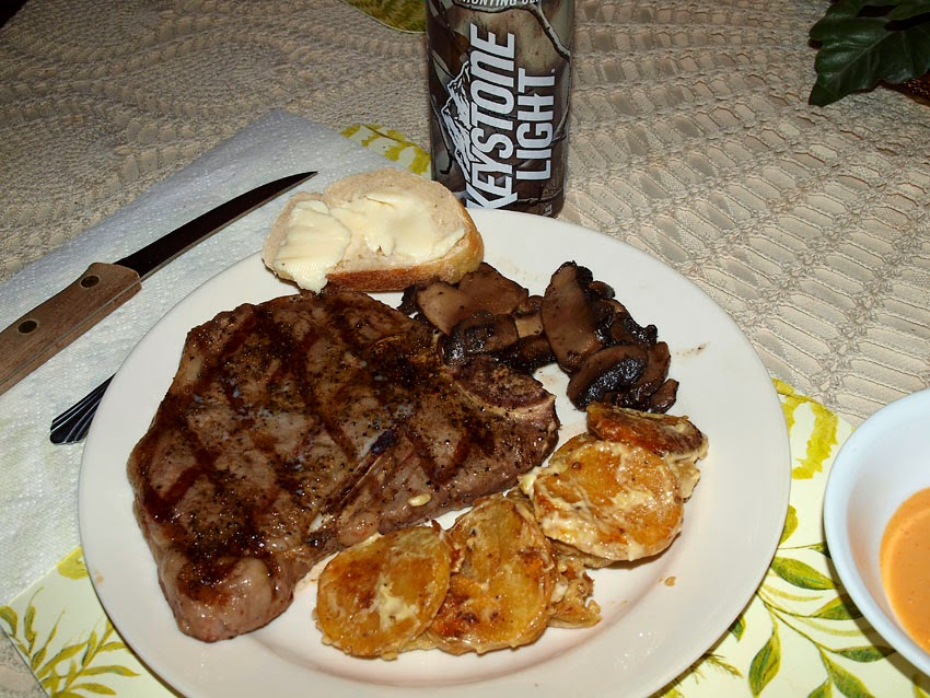 ... Cooking: Grilled T-Bones, Spanish Roasted Potato Salad and Mushrooms