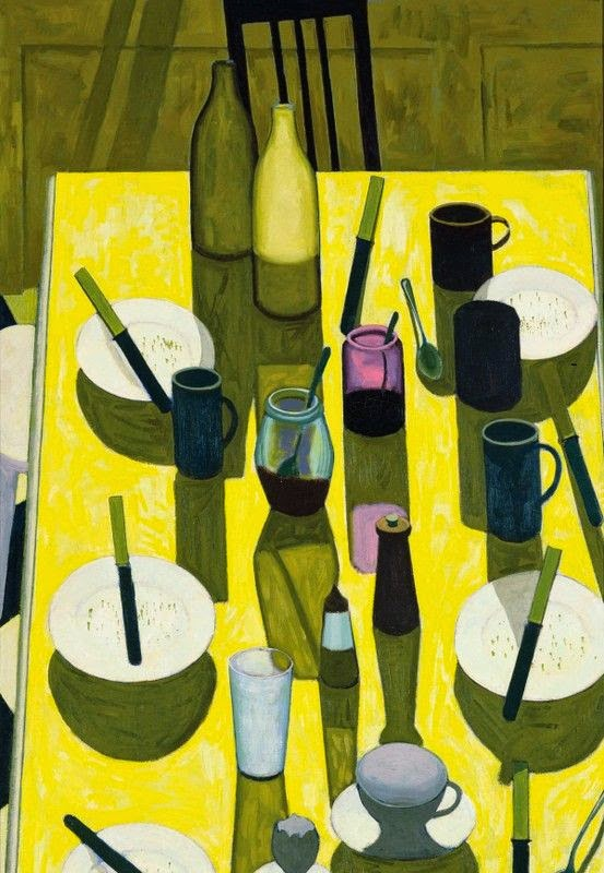 beautiful breakfast table still life illustration by John Brack