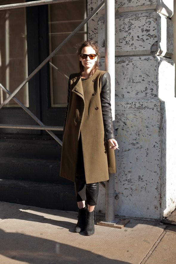 winter fashion olive color wool and leather jacket, womens street style new york soho, ankle boots