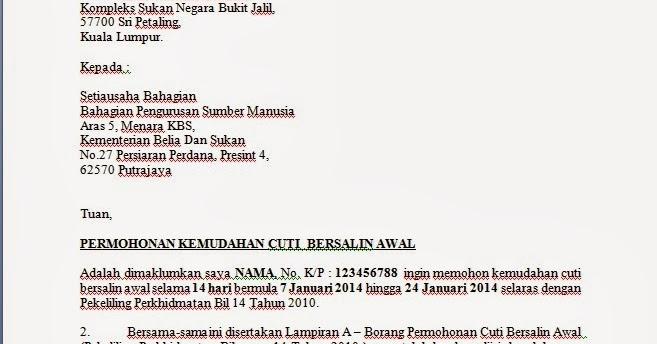 Contoh Surat Mohon Cuti Bersalin Awal