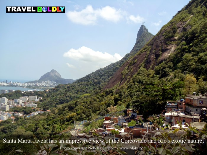 Santa Marta favela has an impressive view of the Corcovado and Rio's exotic nature. Photo copyright Nohelia Sanchez / www.rdj4u.com for www.TravelBoldly.com