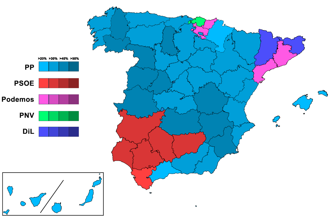 The Spanish election map
