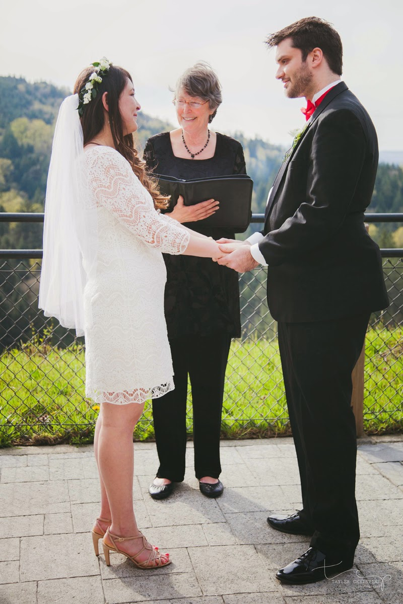 Peter and Tiffiny's wedding ceremony at the Salish Lodge - Patricia Stimac, Seattle Wedding Officiant