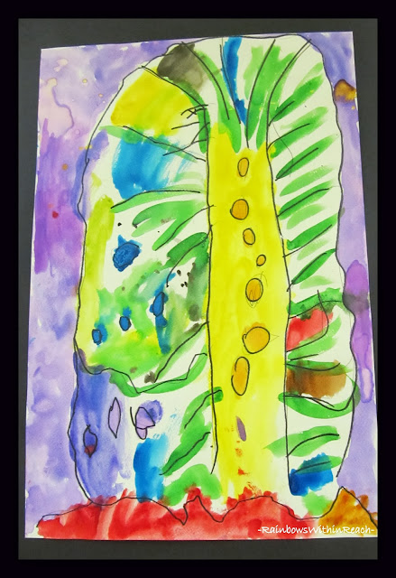 Watercolor Tree Paintings by Young Children via RainbowsWithinReach