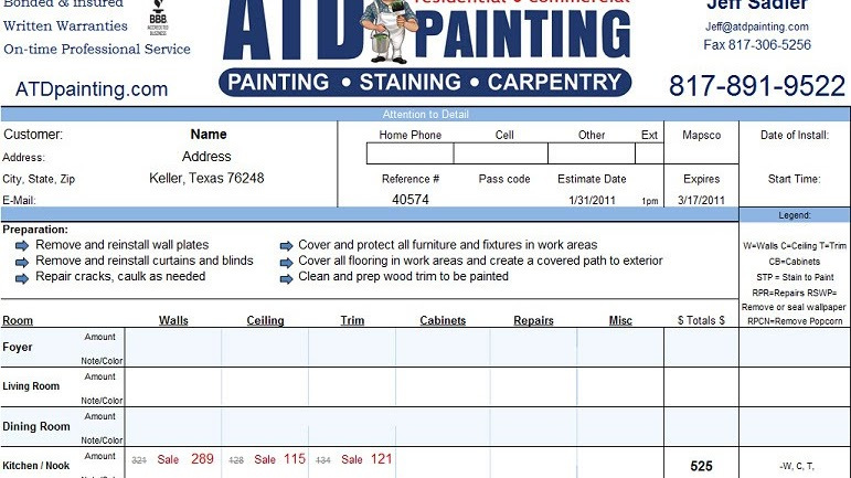 House Painter And Decorator - Interior House Painting Estimate