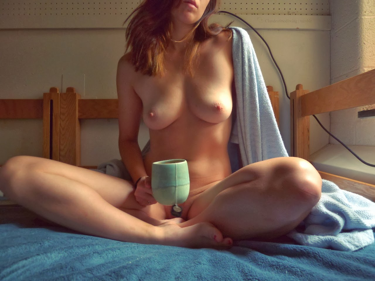 Naked women with coffee there