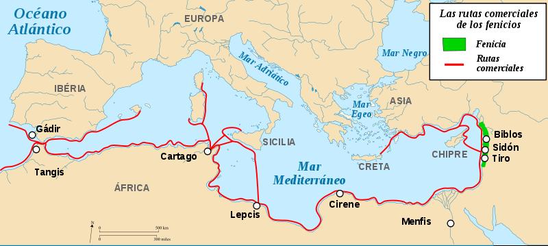 Mapa de las principales rutas comerciales usadas por los fenicios.