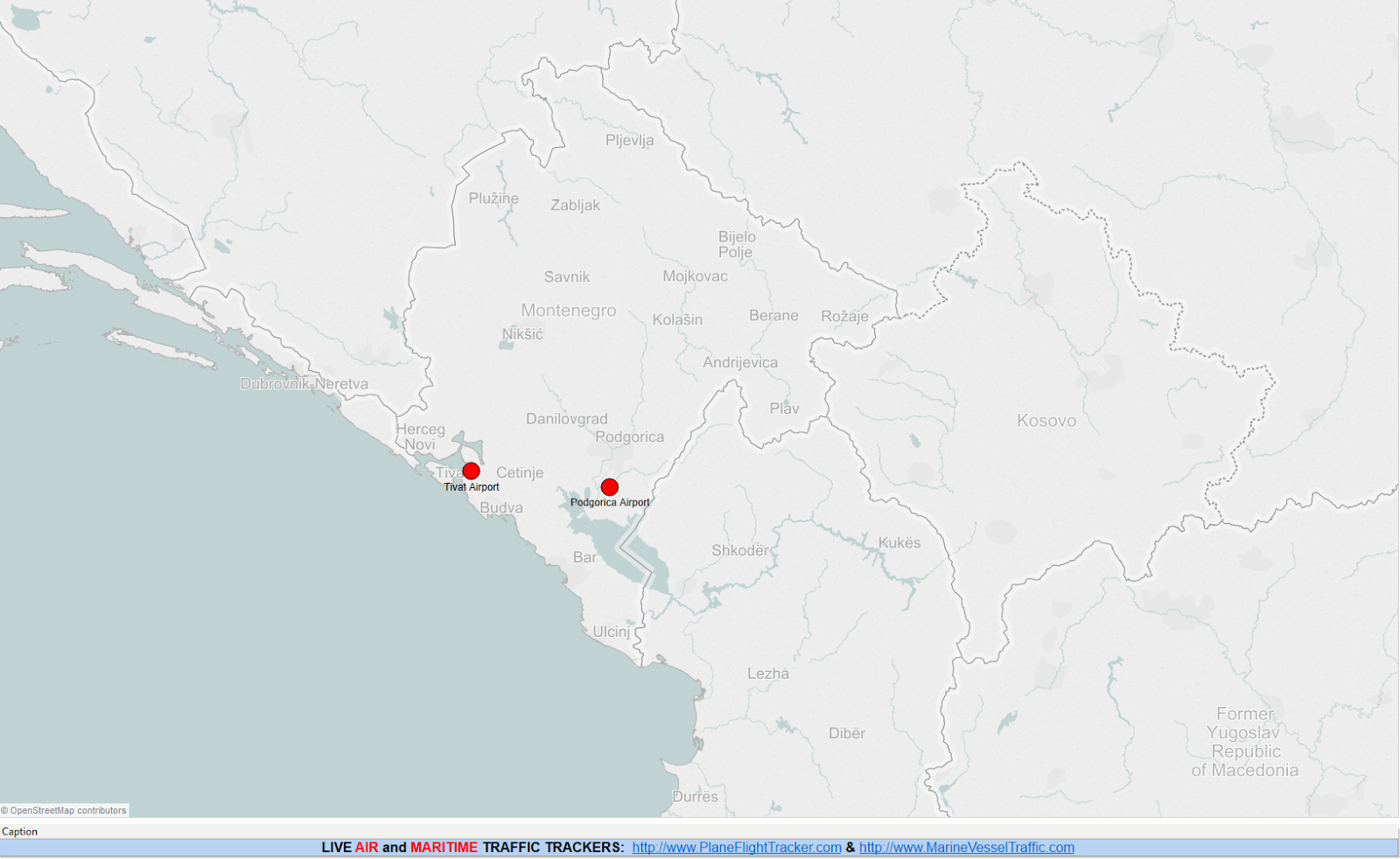 MONTENEGRO AIRPORTS MAP