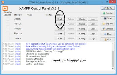 Tampilan Xampp