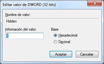 Editar valor de la clave del registro Hidden