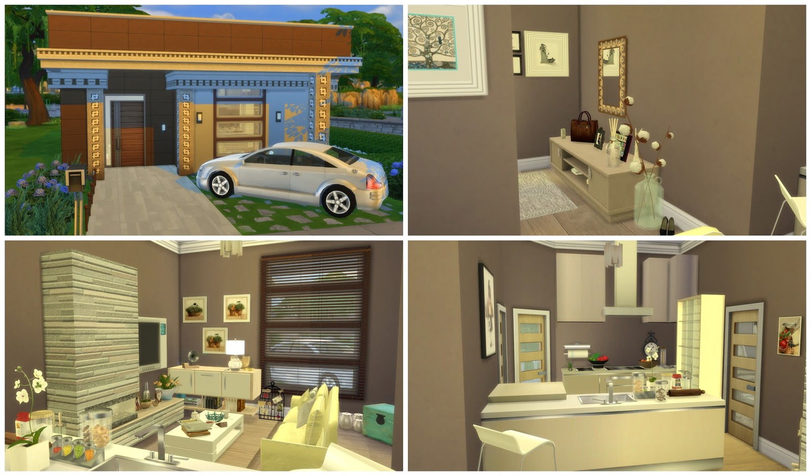 Sims 4 Building on Newcrest Small Modern House II Dinha